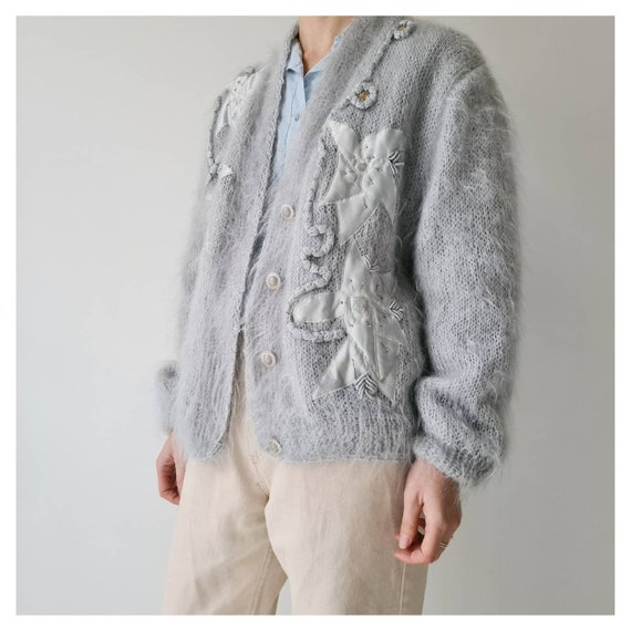 Vintage mohair fluffy lined cardigan jacket m - image 2