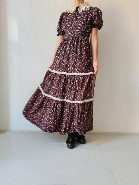 Vintage maxi prairie collar floral dress s - image 3