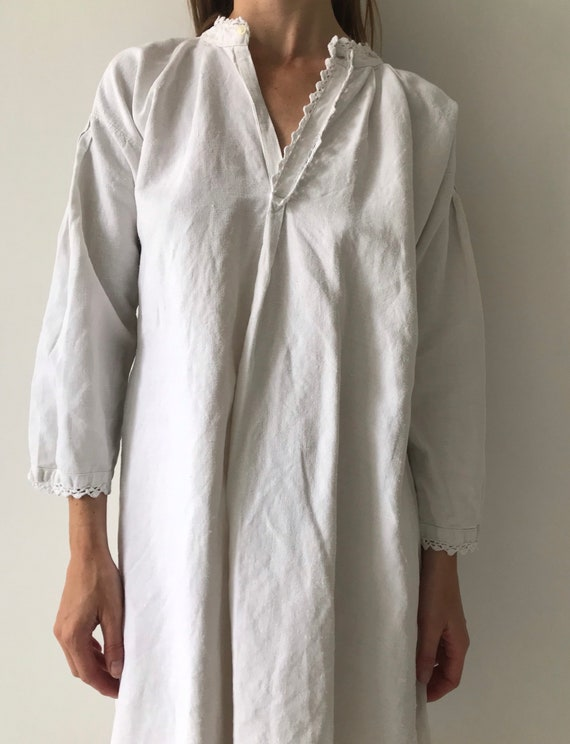 Vintage antique french cotton woven night gown sl… - image 3