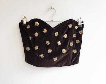Vintage velvet hippie bohemian festival bustier crop top blouse S/XS