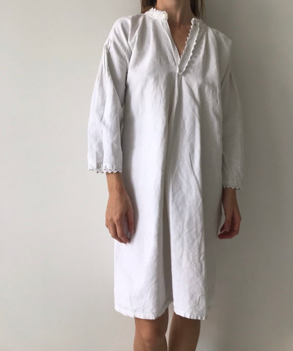 Vintage antique french cotton woven night gown sl… - image 5