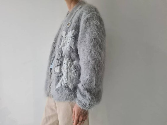 Vintage mohair fluffy lined cardigan jacket m - image 9