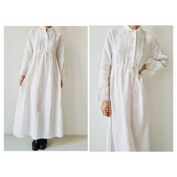 Antique french linen nightgown with embroidery s m