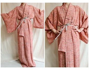 Vintage Japanese traditional silk blend long kimono free size