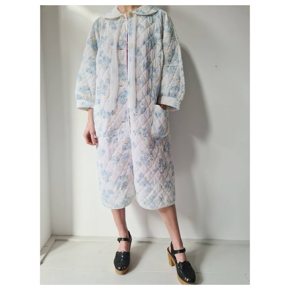 Vintage 60ies duster floral quilted housecoat robe
