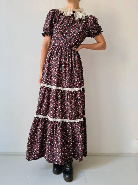 Vintage maxi prairie collar floral dress s - image 2
