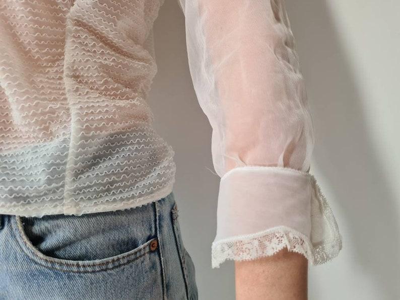Vintage 50-ies sheer ruffle romantic blouse  S