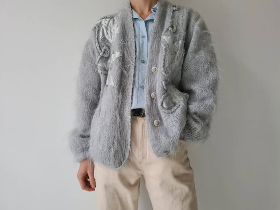 Vintage mohair fluffy lined cardigan jacket m - image 1
