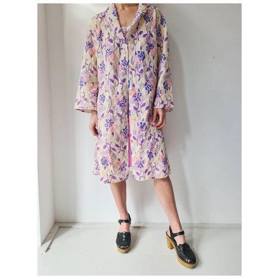 Vintage 60-ies floral quilted housecoat duster  ro