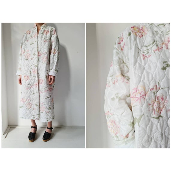 Vintage 60-ies floral quilte housecoat duster  rob