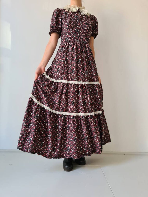 Vintage maxi prairie collar floral dress s - image 4