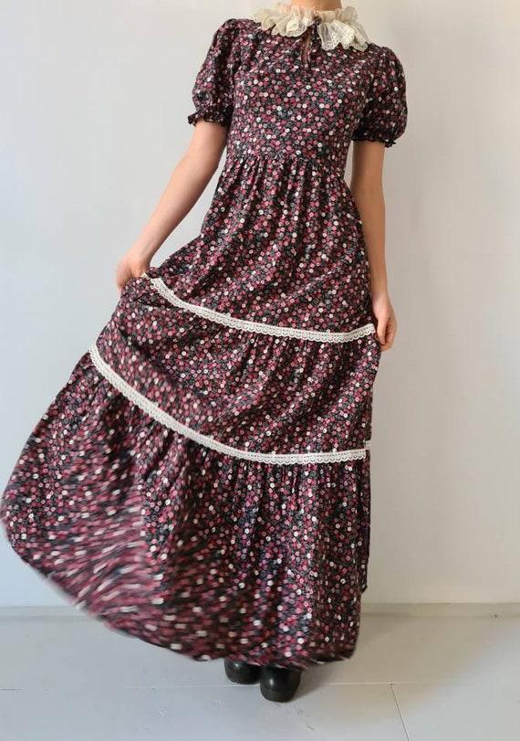 Vintage maxi prairie collar floral dress s - image 5