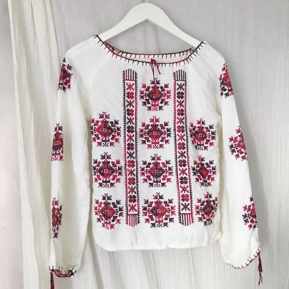 Vintage cotton mix woven seventies folklore embroi