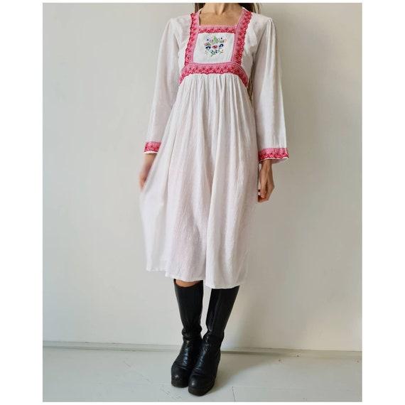 Vintage cotton gauze midi seventies prairie dress