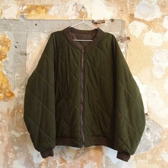 vintage unisex army quilted jacket liner m large
