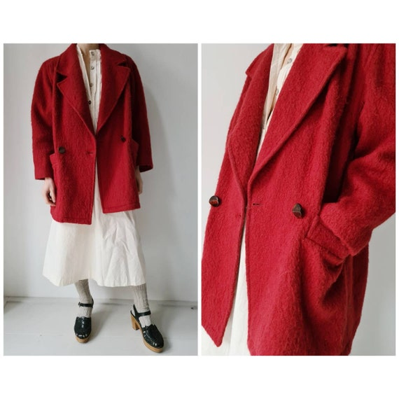 Vintage wool red boucle style pea coat M