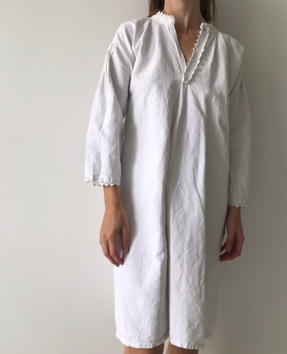 Vintage antique french cotton woven night gown sl… - image 6