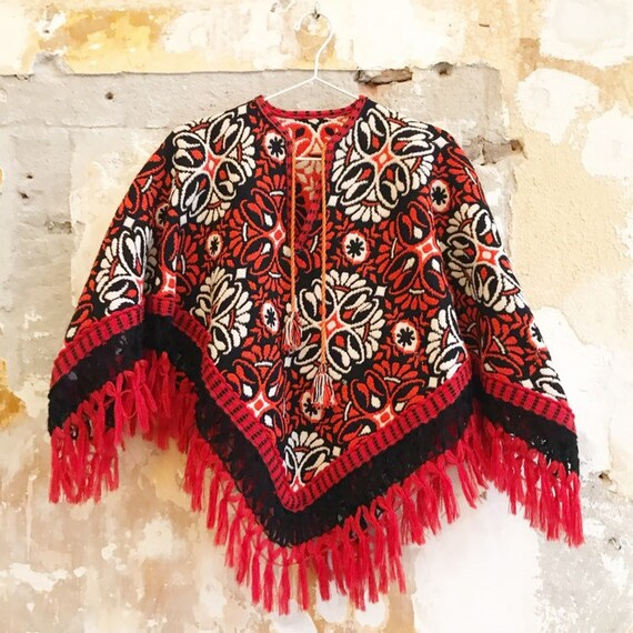 Vintage folklore seventies bohemian poncho S (K)