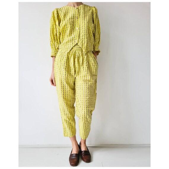 Vintage cotton seersucker yellow suit matching set