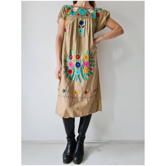 Mexican embroidered floral dress