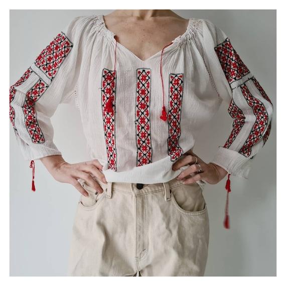Vintage Romanian folklore cotton gauze paper thin