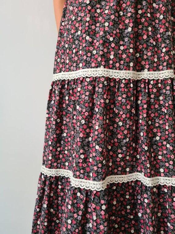 Vintage maxi prairie collar floral dress s - image 8