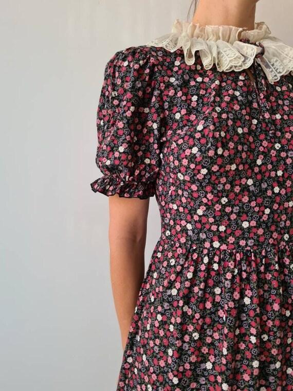 Vintage maxi prairie collar floral dress s - image 6