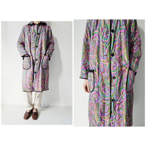Vintage 60-ies retro quilted housecoat robe s/M