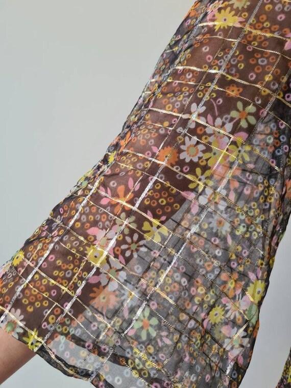 Vintage sheer maxi lurex floral cocktail dress s - image 7
