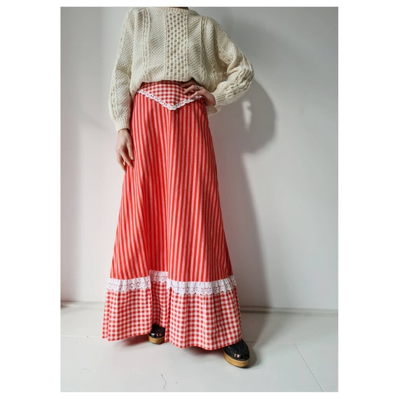 70s maxi skirt  vintage brown gingham polyester knit long hostess button front patch pocket maxi skirt 26 W XS S