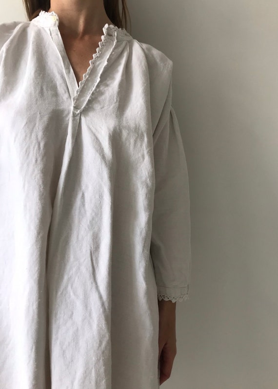 Vintage antique french cotton woven night gown sl… - image 4