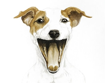 Happy Jack Russell -  painted with coffee and ink
