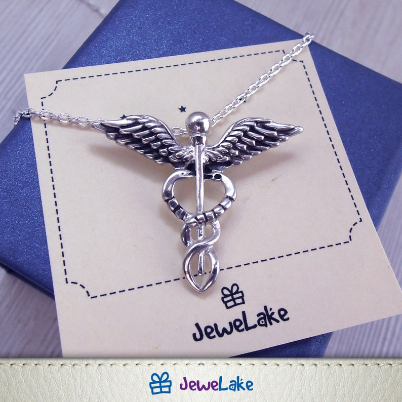 Caduceus sterling silver charm Nurse Jewellery Doctor gift Caduceus necklace Medical jewelry Nursing Graduation gift Medical Symbol RN MD