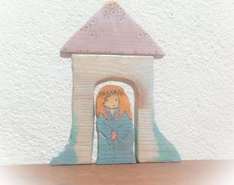 Princess in tower. Waldorf Wooden toy.