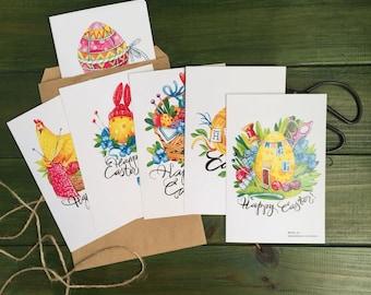 Set of 7 Easter knitting cards, Easter, gift for knitters, gift for crocheters, knitter postcard, knitting needles