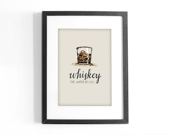 """Quote """"Whiskey, The Water of Life"""" Printable Colored Art. Hand Lettering Inspirational Quote. Digital Download."""