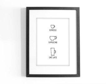 "Coffee Print ""Espresso. Cappuccino. Cafe Latte."" Printable Black and White Art. Illustration. Digital Download."