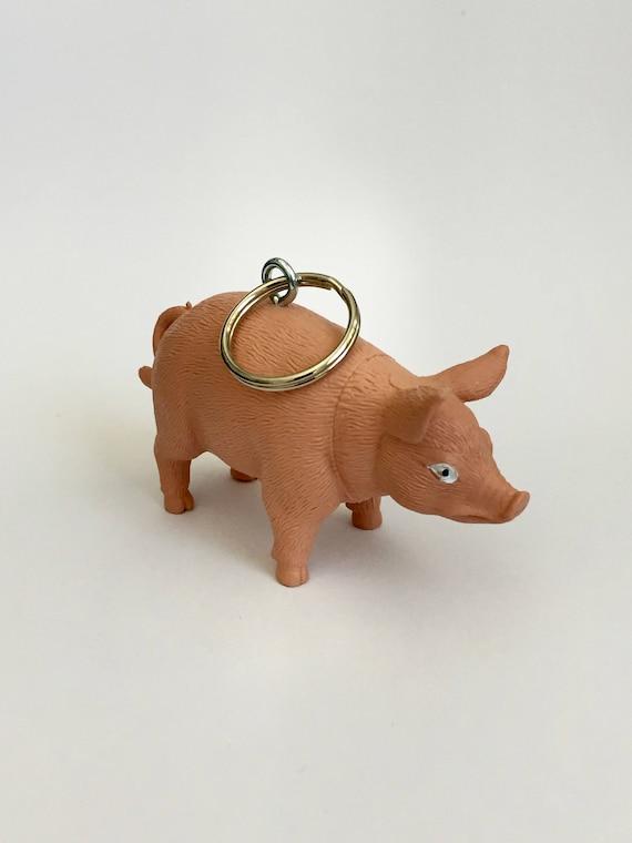 Big pig keychain piggy keychain pink pig key ring key ring  75c691b6e167