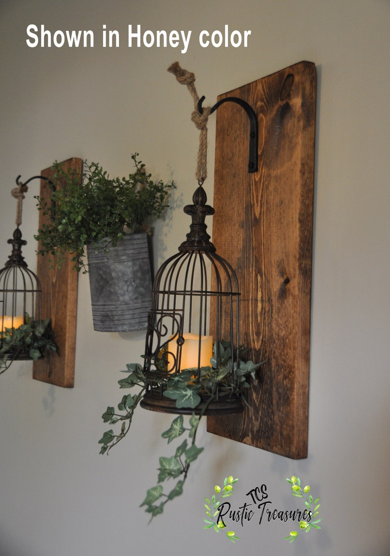 Rustic Home Decor, Bird Cage Lantern, Farmhouse Decor, Hanging Lantern  Sconce, Lantern Sconces, Wall Decor, Sconces, Sconce, Rustic Decor