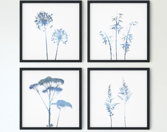 Set of 4 Square Wildflower Prints in Blue, Botanical Wall Art, Modern Farmhouse Home Decor, Framed/Unframed Fine Art Paper or Canvas