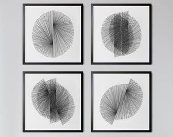 Set of 4 Square Black and White Mid Century Modern Geometric Abstract Prints, Contemporary Minimalist Line Drawings