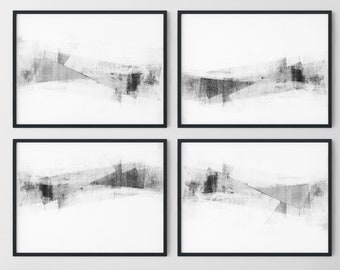 Modern Minimalist Horizontal Wall Art Prints Set of 4, Black and White Contemporary Abstract Artwork