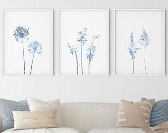 Blue Botanical Print Set, Wildflower Print Set of 3, Modern Farmhouse Decor, Minimalist Wall Art Set of 3 Prints