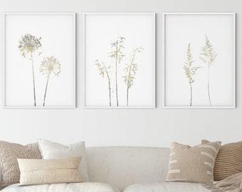 Neutral Brown and Beige Wildflower Set of 3 Prints, Modern Farmhouse Botanical Wall Art, Framed/Unframed Fine Art Paper or Canvas