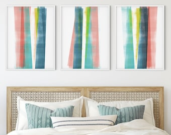 Colorful Modern Geometric Abstract Print Set of 3, Contemporary Minimalist Wall Art, Framed/Unframed Fine Art Paper or Canvas