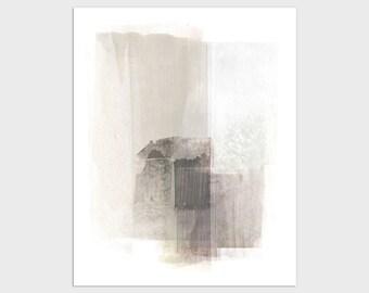 Neutral Beige & Brown Abstract Painting Wall Art Print, Modern Minimalist Decor, Framed/Unframed Fine Art Paper or Canvas