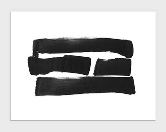 Black and White Modern Abstract Ink Brush Stroke Painting Horizontal Print, Contemporary Minimalist Asian Style Wall Art