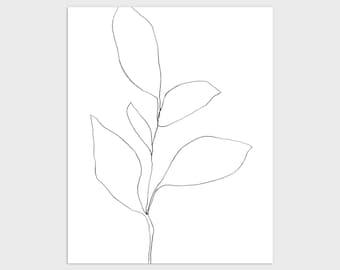 Black and White Botanical Line Drawing Print, Minimalist Plant Illustration, Modern Farmhouse Decor