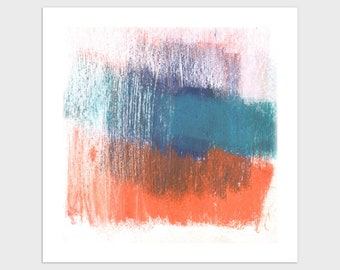 Blue and Orange Square Modern Abstract Print, Contemporary Minimalist Colorful Wall Art, Framed/Unframed Fine Art Paper or Canvas