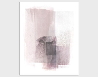Blush Pink Modern Abstract Painting Print, Contemporary Minimalist Wall Art, Framed/Unframed Fine Art Paper or Canvas